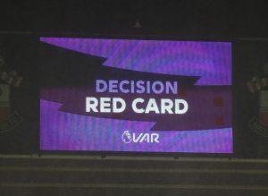 Първият червен картон с VAR в Първа лига